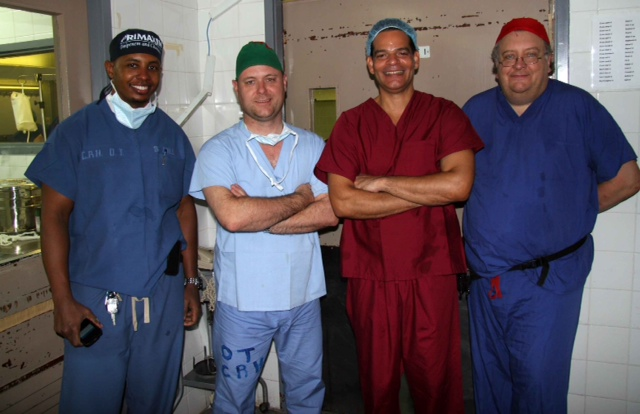 TLC Surgeons Nick Inston and Andrew Ready with Cornwall Regional Hospital Surgeons Dwayne Hall and Roy MacGregor